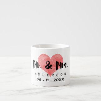 Stamped Heart Mr & Mrs Wedding Date Espresso Mug