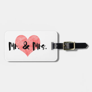 Stamped Heart Rustic Mr & Mrs Luggage Tag