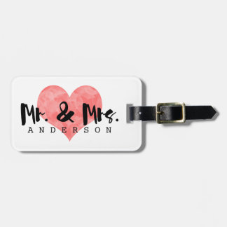 Stamped Heart Rustic Mr & Mrs Monogram Bag Tag