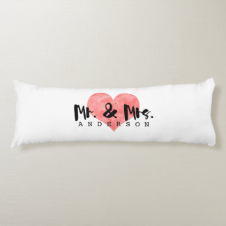 Stamped Heart Rustic Mr & Mrs Monogram Body Pillow