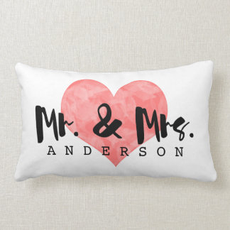 Stamped Heart Rustic Mr & Mrs Monogram Lumbar Pillow