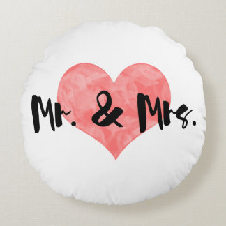 Stamped Heart Rustic Mr & Mrs Round Pillow