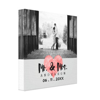 Stamped Heart Rustic Mr & Mrs Wedding Canvas Print