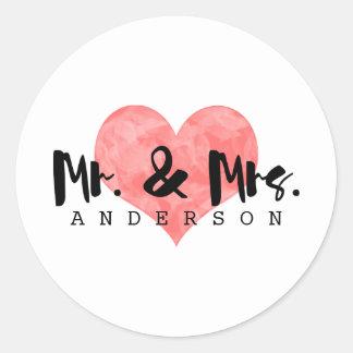 Stamped Heart Rustic Mr & Mrs Wedding Round Sticker