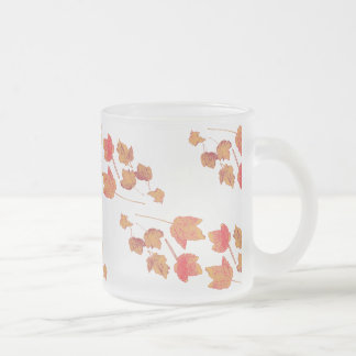 Stamped Maple Leaves Frosty Frosted Glass Mug