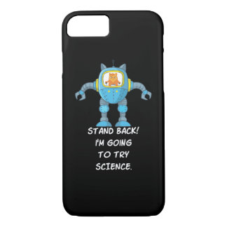 Stand Back Going To Try Science Funny Robot Cat Case-Mate iPhone Case