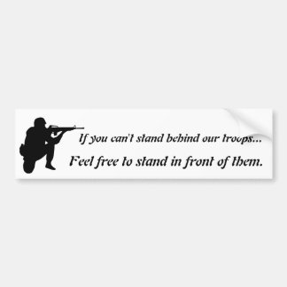 Stand Behind Or In Front - Black on White Graphic Bumper Sticker