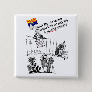 Stand By Arizona 2 Inch Square Button