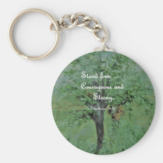 Stand Firm Courageous and Strong Keychain