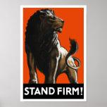 Stand Firm Lion -- WW2 Propaganda Poster