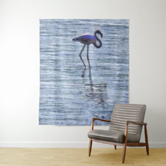 Stand Tall Flamingo Watercolor Tapestry