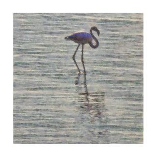 Stand Tall Flamingo Watercolor Wood Print