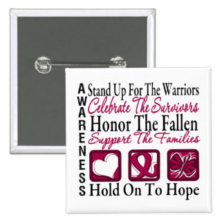 Stand Up Celebrate Honor Collage Multiple Myeloma 2 Inch Square Button
