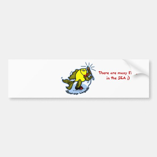 Stand-Up Fish funny comic cartoon Bumper Stickers