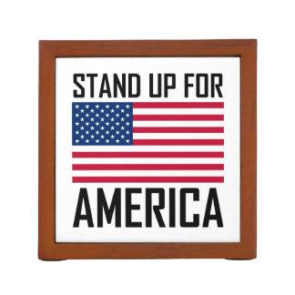 Stand Up For America Flag National Anthem Desk Organizer