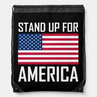 Stand Up For America Flag National Anthem Drawstring Bag