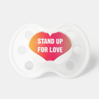 Stand Up for Love (Red-Orange Heart) Baby Pacifiers