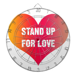 Stand Up for Love (Red-Orange Heart) Dartboard