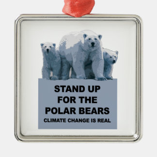 Stand Up for the Polar Bears Metal Ornament