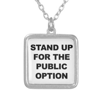 STAND UP FOR THE PUBLIC OPTION SILVER PLATED NECKLACE