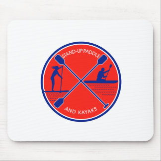Stand-up Paddle and Kayak Circle Retro Mouse Pad