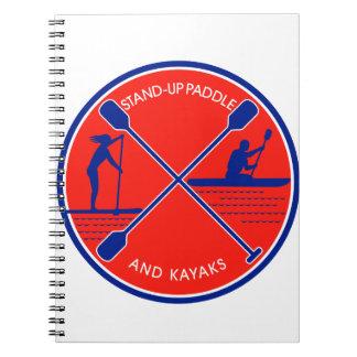 Stand-up Paddle and Kayak Circle Retro Notebooks