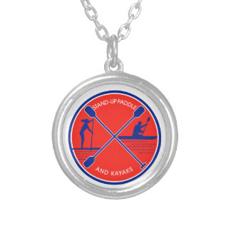 Stand-up Paddle and Kayak Circle Retro Silver Plated Necklace