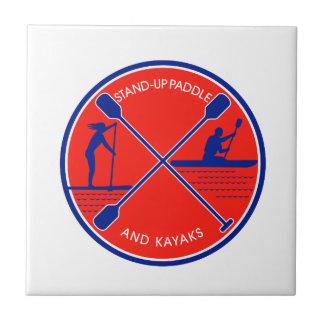 Stand-up Paddle and Kayak Circle Retro Tile