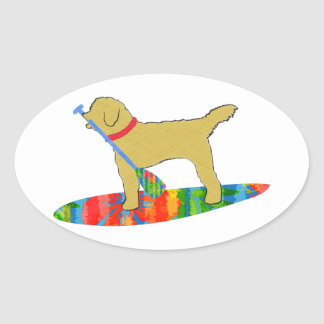 Stand Up Paddle Board Golden Doodle Dog Oval Sticker