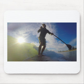 Stand up paddle board surfing a wave mouse pad
