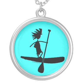 Stand Up Paddle Silhouette Design Round Pendant Necklace