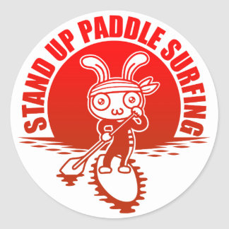 Stand up paddle surfing classic round sticker