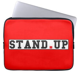 stand up text message emotion feel red dot square computer sleeves
