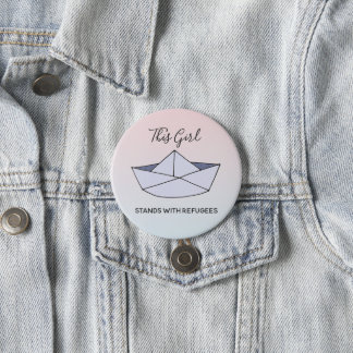 Stand With Refugees Ombre Doodle Paper Boat Name 3 Inch Round Button