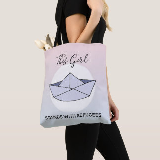 Stand With Refugees Ombre Doodle Paper Boat Name Tote Bag