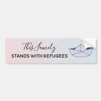 Stand With Refugees Ombre Pink Family Boat & Name Bumper Sticker