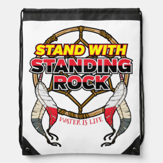 Stand With Standing Rock Water is Life Drawstring Bag