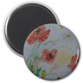 "Standard 2 1/4"" round magnet with original flowers"