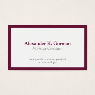 Standard classic burgundy border solid profession business card