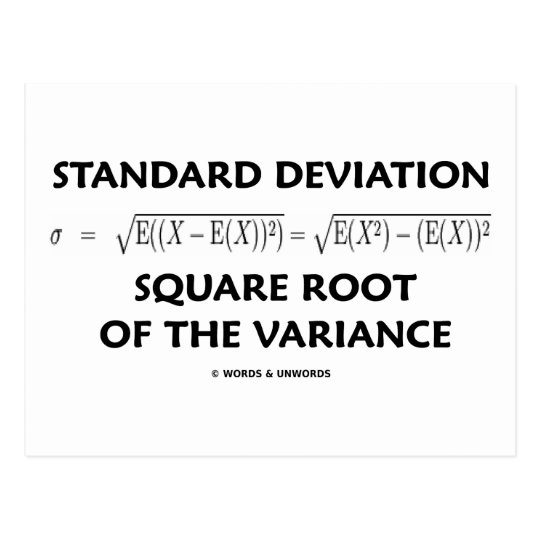 Standard Deviation Square Root Of The Variance Postcard