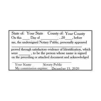 Standard Notary Public Acknowledgement Stamp