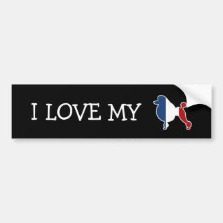 Standard Poodle Dog Breed in French Flag Bumper Sticker