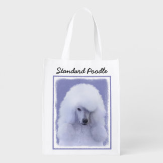 Standard Poodle (White) Reusable Grocery Bags