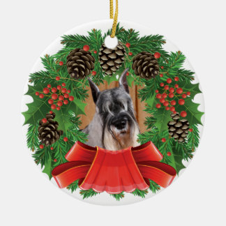 Standard Schnauzer Christmas Holiday Wreath Ceramic Ornament