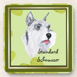 Standard Schnauzer ~ Green Leaves Design Coaster