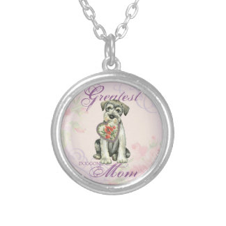 Standard Schnauzer Heart Mom Silver Plated Necklace
