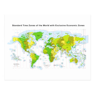 Standard time zones of the world & Economic Zones Postcard