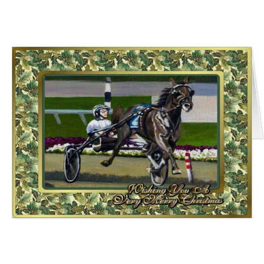 Standardbred Race Horse Blank Christmas Card