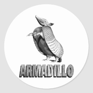 Standing Armadillo Classic Round Sticker