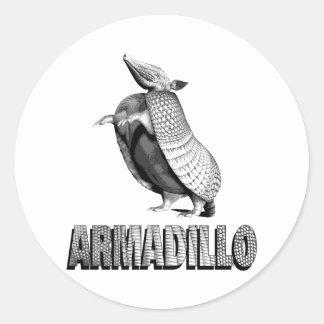 Standing Armadillo Round Sticker